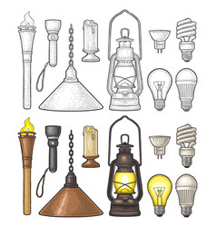 Set lighting object torch candle flashlight vector