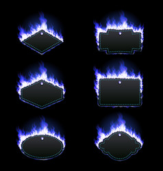 set six frames surrounded with blue flame vector image
