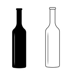 set wine bottle with glare light sign icon vector image