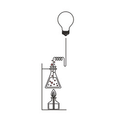 sketch silhouette of glass beaker connected to vector image