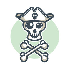 skull in pirate hat with two crossed bones logo vector image