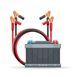 Start battery car and jump cables vector