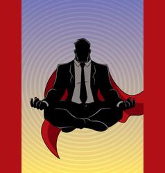 Super businessman meditating background silhouette vector