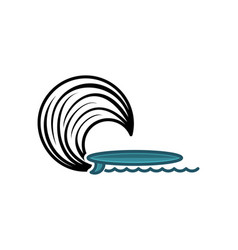 surf board and wave logo designs inspiration vector image