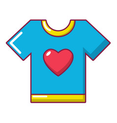 T-shirt heart icon cartoon style vector