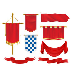 textile heraldic banners pennants and flags set vector image