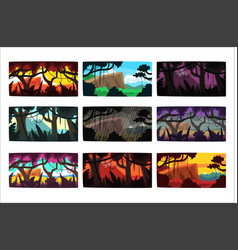 tropical jungle landscapes set in different times vector image