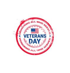 Veteran day grunge rubber stamp on white vector