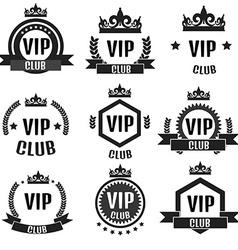 VIP club logos set in flat style vector