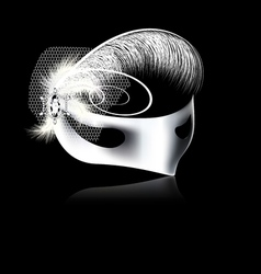 White mask with feathers and veil vector