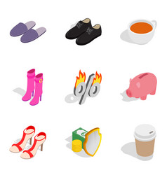 Women resolve icons set isometric style vector