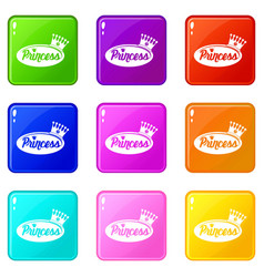 Word princess crown icons set 9 color collection vector