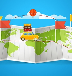World map with red flag and vehicle Design vector
