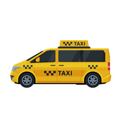 yellow taxi van side view public transportation vector image