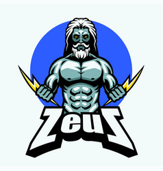 Zeus with lightning bolt vector