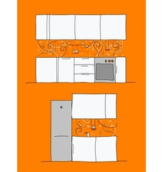 Design of kitchen wall with funny birds and cats vector image