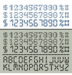 Extened digital font numbers and letters vector image vector image