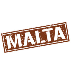 malta brown square stamp vector image vector image