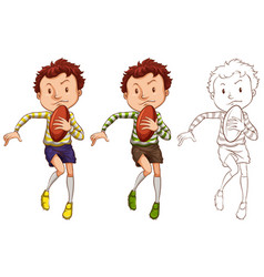 Man and rugby ball in three different drawing vector