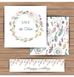 Save the date card with dream catcher vector image vector image