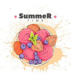 Berry dessert with ice cream vector