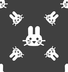 Rabbit icon sign Seamless pattern on a gray vector image