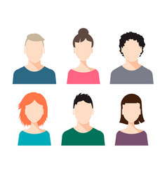 set of human faces - male and female vector image
