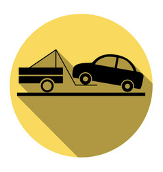 tow truck sign flat black icon with flat vector image