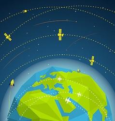 Abstract global modern flying sattelites vector image vector image