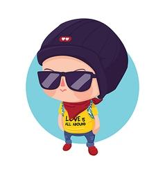 Hipster Boy Cartoon Character vector image vector image