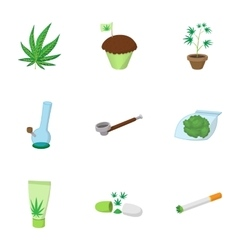 Marijuana icons set cartoon style vector image