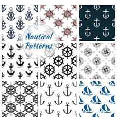 Nautical seamless pattern set of navy anchor vector