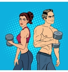 Pop Art Athletic Man and Woman Exercising vector image