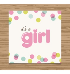 Baby shower card girl vector