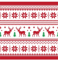 Christmas and Winter knitted seamless pattern car vector image vector image