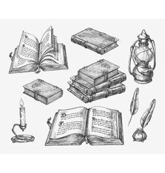 Hand-drawn vintage books Sketch old school vector image