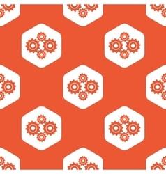 Orange hexagon cogs pattern vector image