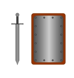 Set of sign shield and sword silver R 2008 vector image vector image