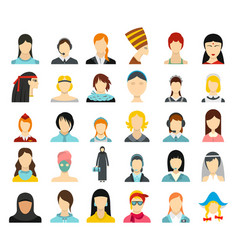 woman avatar icon set flat style vector image
