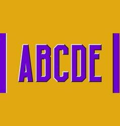 A b c d e purple letters with motion effect vector