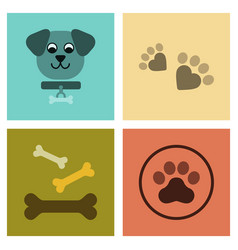 Assembly flat icons traces dog bones vector