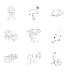 Australia icons set outline style vector