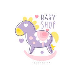 baby shop logo design emblem with rocking horse vector image