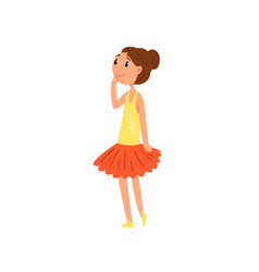 Ballerina girl character in tutu dress cartoon vector