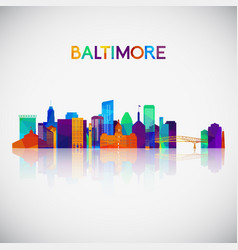 baltimore skyline silhouette in colorful vector image