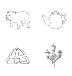 Breed dog teapot brewer england country set vector