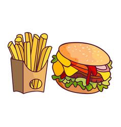 Burger potato fry cartoon set isolated vector