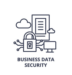 business data security line icon concept business vector image