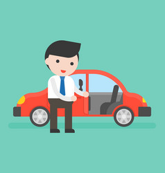 businessman or salesman open cars door for vector image