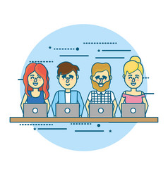 Businesspeople teamwork with laptop and hairstyle vector